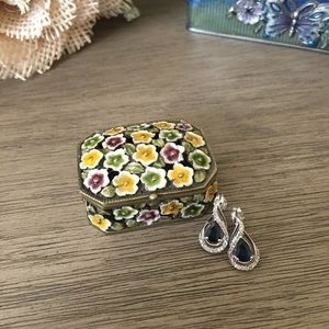 Other - Hand Painted Crystal Enamel Ring Trinket Box